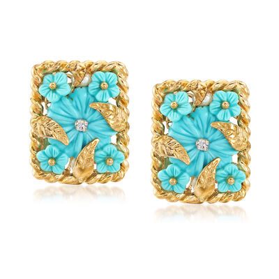Italian Simulated Turquoise and 18kt Gold Over Sterling Floral Earrings With CZ Accents, , default