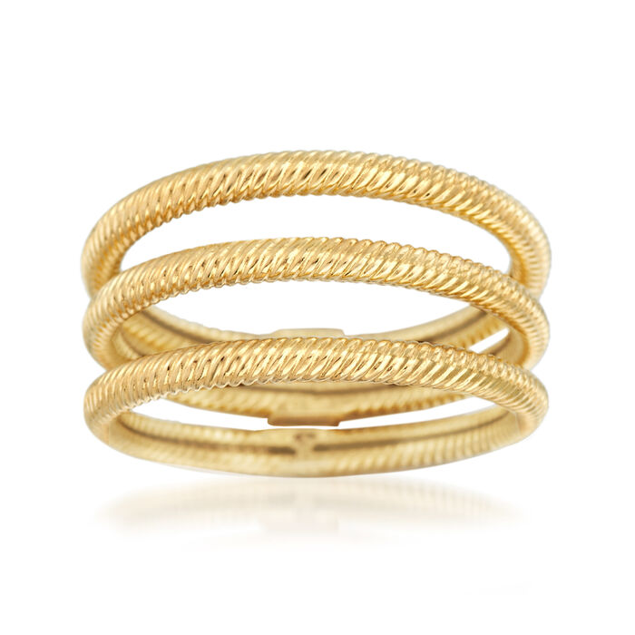 18kt Yellow Gold Jewelry Set: Three Roped Rings