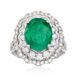 4.40 Carat Emerald and 1.15 ct. t.w. Diamond Ring in 14kt White Gold, , default