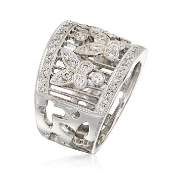 C. 1990 Vintage .75 ct. t.w. Diamond Butterfly Ring in 18kt White Gold. Size 6.5, , default