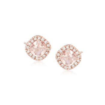 1.00 ct. t.w. Morganite and .16 ct. t.w. Diamond Stud Earrings in 14kt Rose Gold, , default