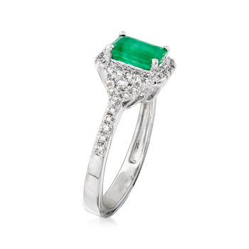 .90 Carat Emerald and .39 ct. Tw. Diamond Ring in 14kt White Gold