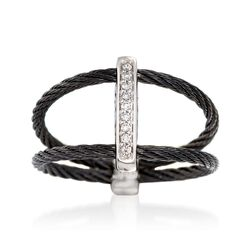 "ALOR ""Noir"" Black Cable Bar Ring With Diamond Accents and 18kt White Gold. Size 7, , default"