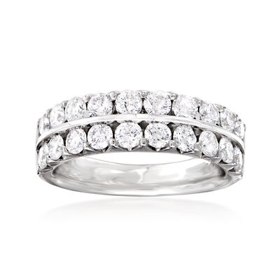 C. 1990 Vintage 1.60 ct. t.w. Diamond Double-Row Ring in 14kt White Gold, , default