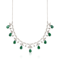 20.00 ct. t.w. Emerald and .28 ct. t.w. Diamond Necklace in Sterling Silver, , default
