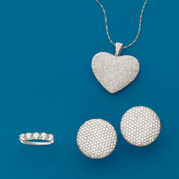 3.00 ct. t.w. Pave Diamond Heart Pendant in 14kt White Gold, , default