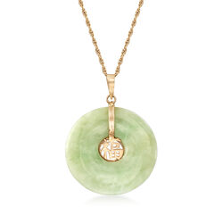 """C. 1990 Vintage Green Jade and 14kt Yellow Gold Chinese """"Faith"""" Symbol Pendant. 24"""", , default"""