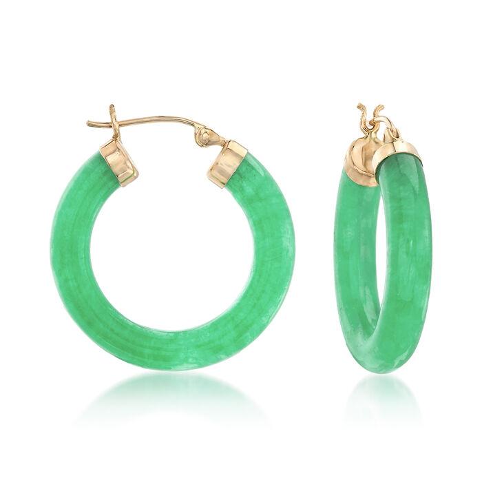 "Jade Hoop Earrings with 14kt Yellow Gold. 1"", , default"