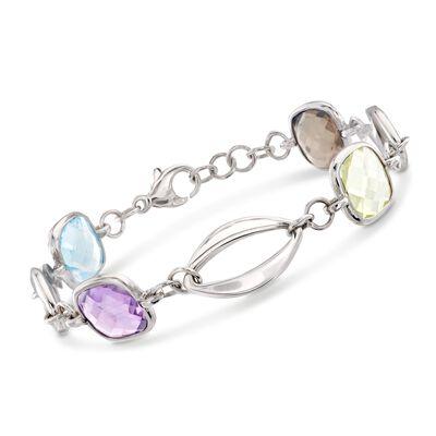 Italian 10.00 ct. t.w. Multi-Stone Link Bracelet in Sterling Silver, , default