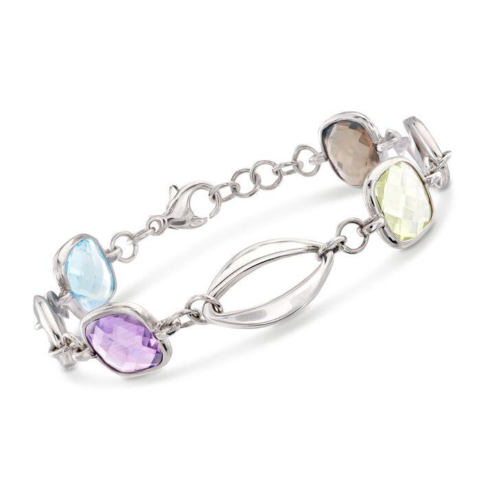 """Italian 10.00 ct. t.w. Multi-Stone Link Bracelet in Sterling Silver. 7"""", , default"""