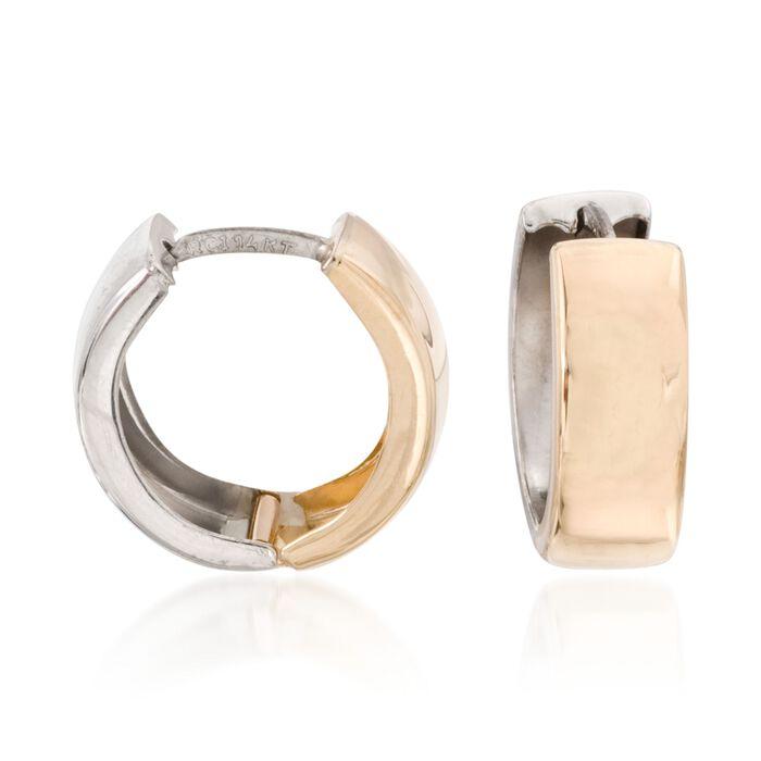 """14kt Two-Tone Gold Reversible Huggie Hoop Earrings. 5/8"""", , default"""