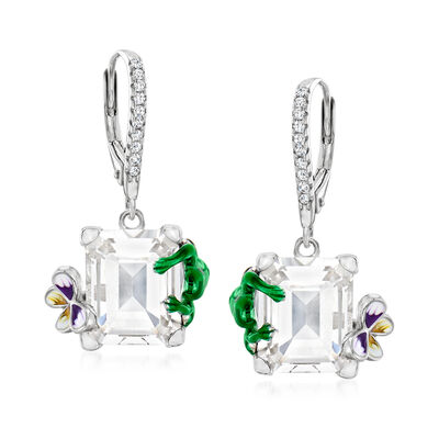 8.00 ct. t.w. Rock Crystal and .10 ct. t.w. White Topaz Nature Drop Earrings with Enamel in Sterling Silver