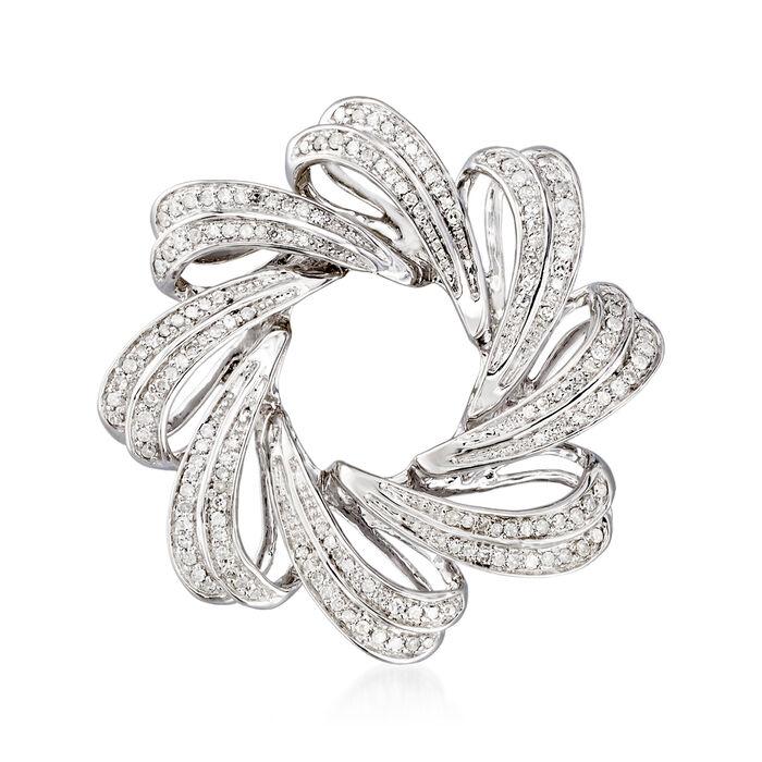 .76 ct. t.w. Diamond Ribbon Circle Pin in Sterling Silver