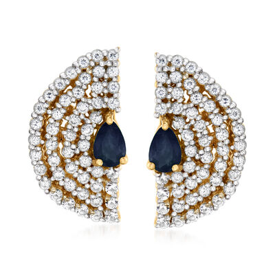 1.82 ct. t.w. White Zircon and .80 ct. t.w. Sapphire Fan Stud Earrings in 18kt Gold Over Sterling, , default