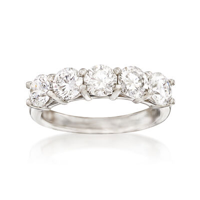2.00 ct. t.w. Diamond Five Stone Wedding Band in Platinum, , default