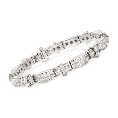 11.30 ct. t.w. Alternating Baguette and Princess Diamond Bracelet in 14kt White Gold, , default