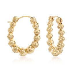 """Andiamo 14kt Yellow Gold Beaded Oval Hoop Earrings. 5/8"""", , default"""