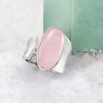Oval Rose Quartz Wrap Ring in Sterling Silver