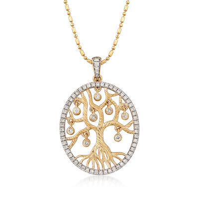 .48 ct. t.w. Diamond Tree of Life Pendant Necklace in 14kt Yellow Gold, , default
