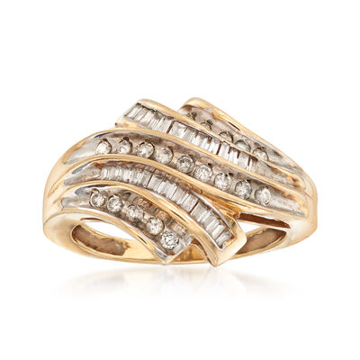 C. 1980 Vintage .50 ct. t.w. Baguette and Round Diamond Ring in 10kt Yellow Gold, , default