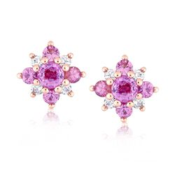 1.60 ct. t.w. Pink and White Sapphire Flower Earrings in 14kt Rose Gold, , default