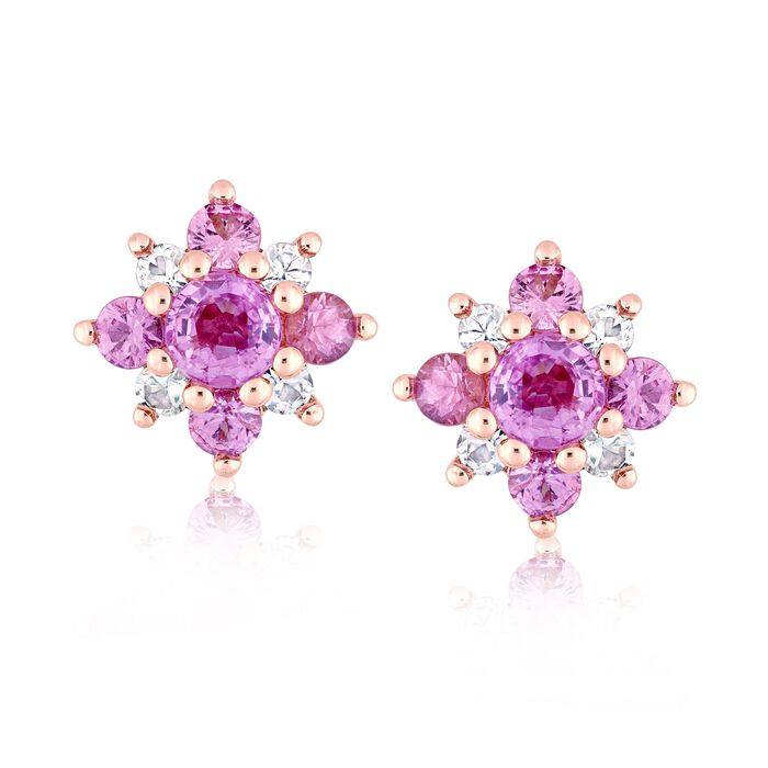 1.60 ct. t.w. Pink and White Sapphire Flower Earrings in 14kt Rose Gold , , default