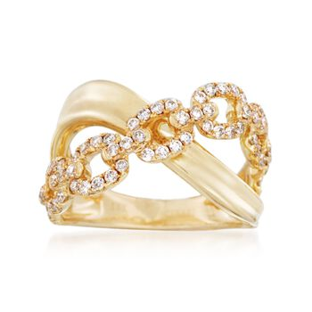 .68 ct. t.w. Diamond Link-Style Crisscross Ring in 18kt Yellow Gold, , default