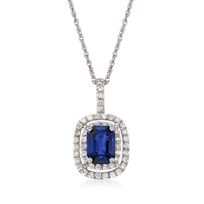 1.70 Carat Sapphire and .50 ct. t.w. Diamond Pendant Necklace in 14kt White Gold, , default