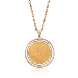 C. 1970 Vintage Turkish Gold 100 Kurush Coin Pendant Necklace in 18kt and 22kt Gold, , default