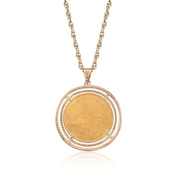 "C. 1970 Vintage Turkish Gold 100 Kurush Coin Pendant Necklace in 18kt and 22kt Gold. 22"", , default"