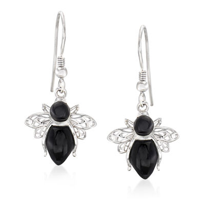 Onyx Bumble Bee Drop Earrings in Sterling Silver, , default