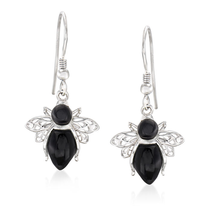 Onyx Bumble Bee Drop Earrings in Sterling Silver