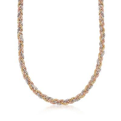 C. 1990 Vintage 18kt Tri-Colored Gold Braided Necklace, , default