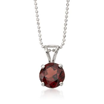 "2.50 Carat Garnet Solitaire Necklace in 14kt White Gold. 16"", , default"