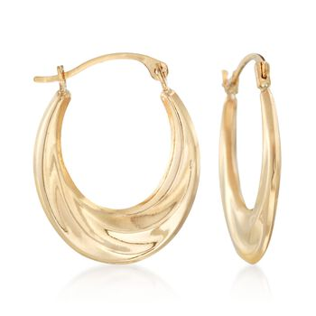 "14kt Yellow Gold Graduated Hoop Earrings. 3/4"", , default"