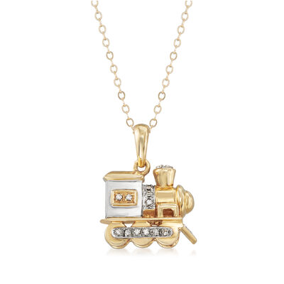 C. 1990 Vintage .25 ct. t.w. Diamond Train Pendant Necklace in 14kt Two-Tone Gold, , default