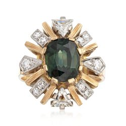 C. 1990 Vintage 1.80 Carat Green Tourmaline and .75 ct. t.w. Diamond Ring in 18kt Yellow Gold. Size 6, , default