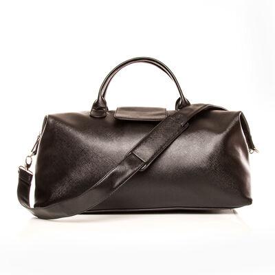 """Brouk & Co. """"Alpha"""" Black Faux Leather Duffel Bag, , default"""
