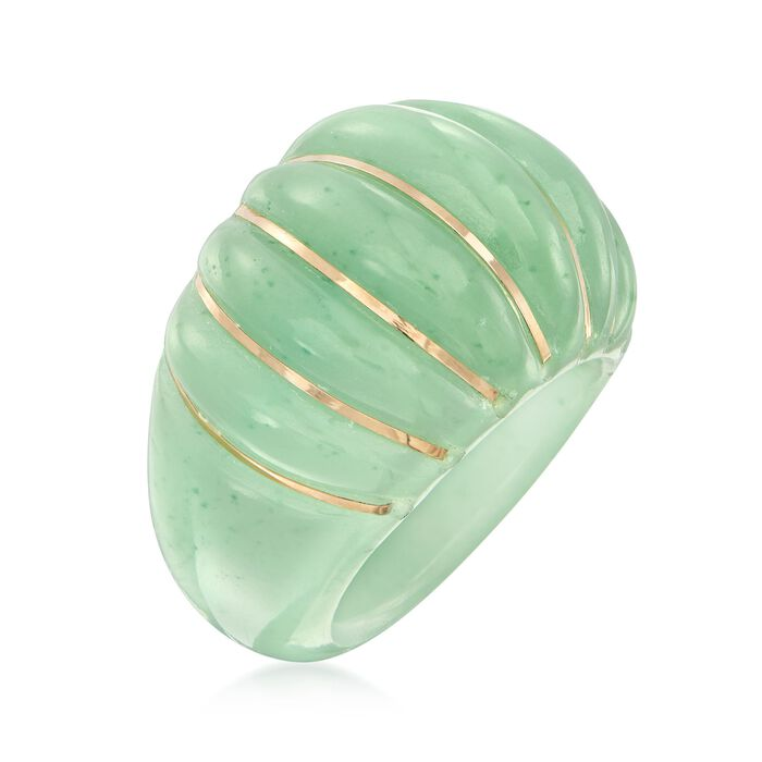 Carved Green Jade Shrimp Ring with 14kt Yellow Gold