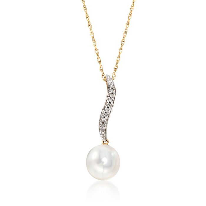 9mm Cultured Pearl Drop Necklace with Diamond Accents in 14kt Yellow Gold