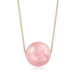 16mm Pink Shell Pearl Solitaire Necklace in 18kt Gold Over Sterling, , default