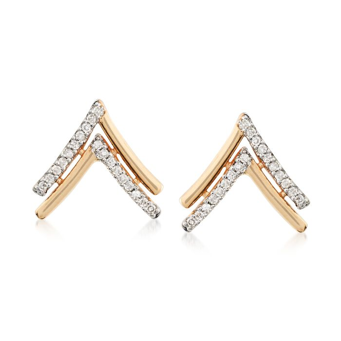 .10 ct. t.w. Diamond Chevron Stud Earrings in 14kt Yellow Gold