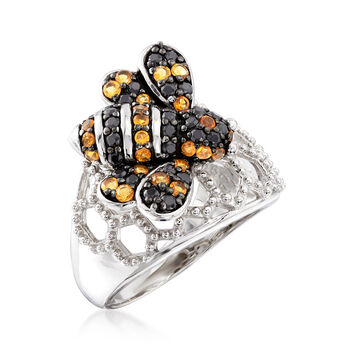 .55 ct. t.w. Black Spinel and .45 ct. t.w. Citrine Bee Ring in Sterling Silver, , default