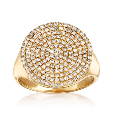 .58 ct. t.w. Pave Diamond Circle Pinky Ring in 14kt Yellow Gold, , default