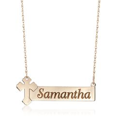 14kt Yellow Gold Name Bar Necklace With Cross, , default