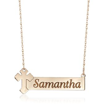 """14kt Yellow Gold Name Bar Necklace With Cross. 18"""", , default"""