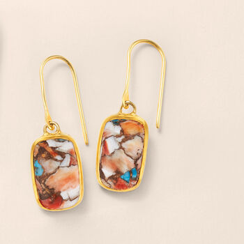 Mosaic Kingman Turquoise Drop Earrings in 18kt Gold Over Sterling, , default