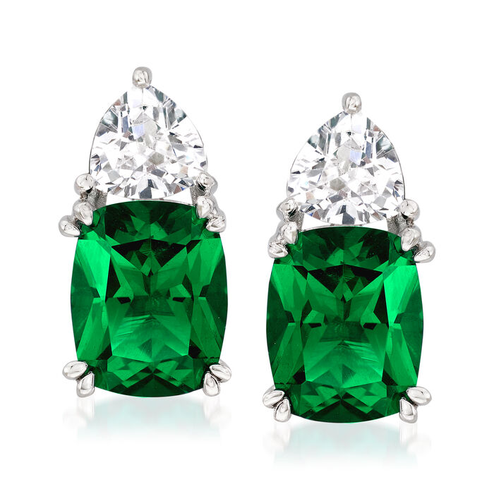 6.80 ct. t.w. Simulated Emerald and 1.50 ct. t.w. CZ Earrings in Sterling Silver, , default