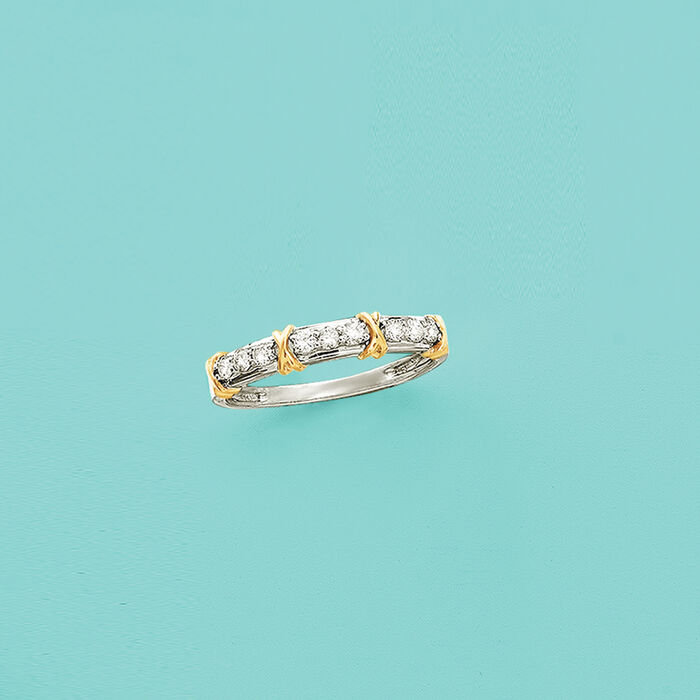 """.25 ct. t.w. Diamond and """"X"""" Station Ring in 14kt Two-Tone Gold"""