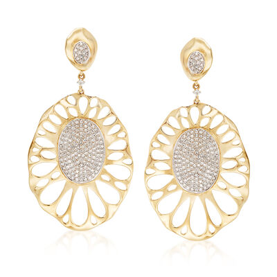 1.08 ct. t.w. Pave Diamond Oval Openwork Drop Earrings in 14kt Yellow Gold, , default